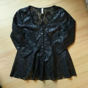 Free people NWOT black lace blouse